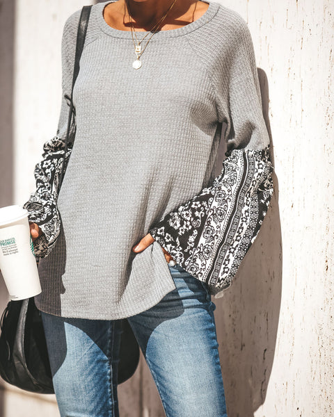October Thermal Contrast Bell Sleeve Top - Grey
