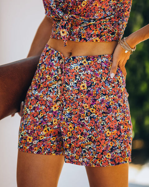 Place In The Sun Cotton Pocketed Button Front Shorts