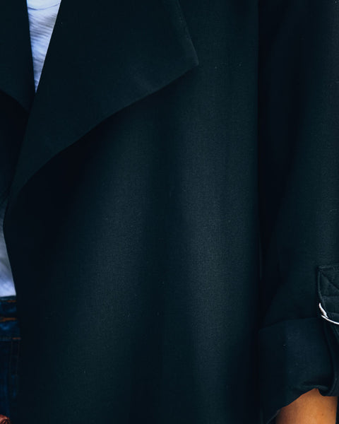 Transit Pocketed Drape Coat - Black - FINAL SALE