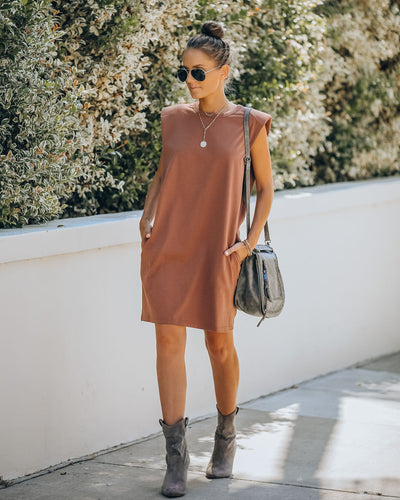 Strong Suit Cotton Pocketed Dress - Mocha