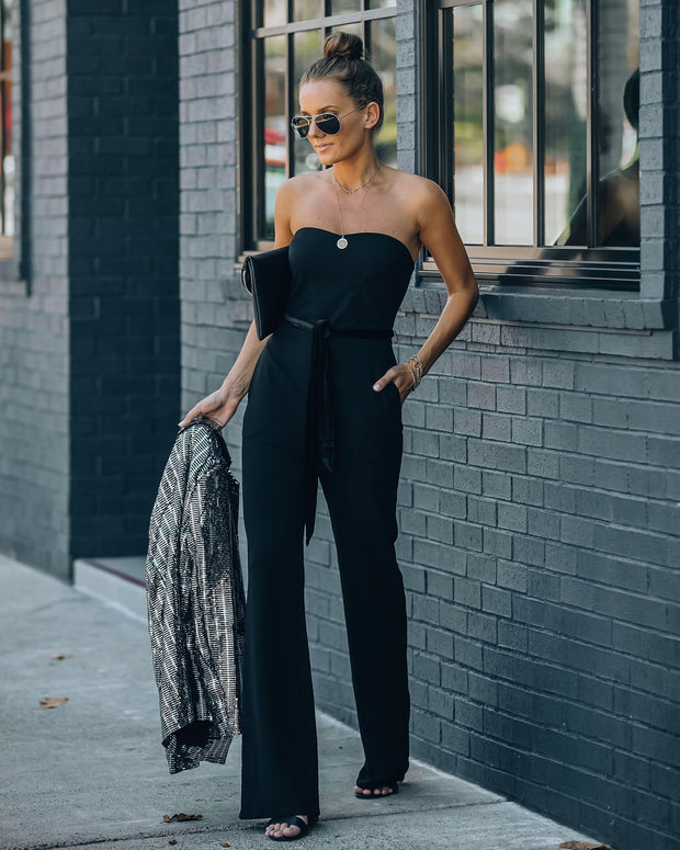 Exclusives Only Strapless Pocketed Velvet Tie Jumpsuit view 8