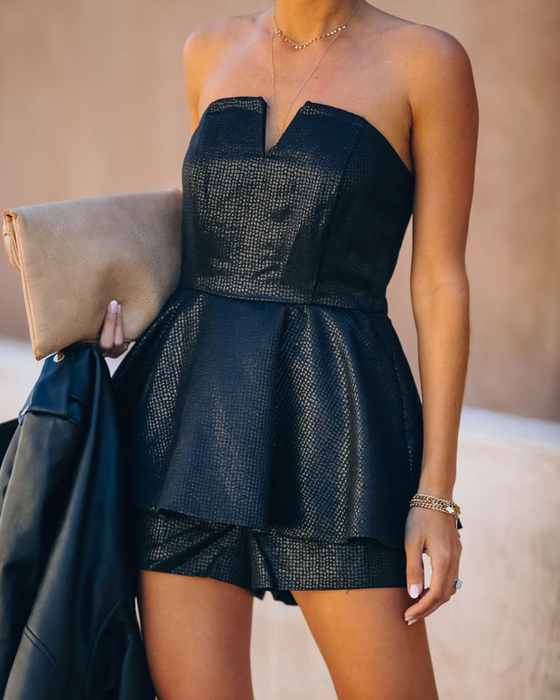 Head Over Heels Strapless Shimmer Peplum Romper - FINAL SALE view 3