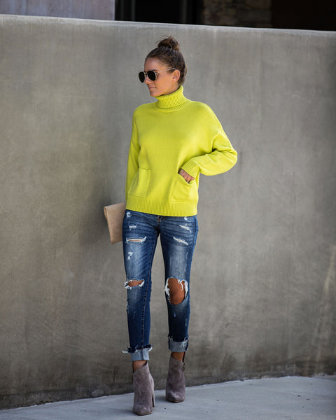 Vivid Vision Pocketed Turtleneck Sweater