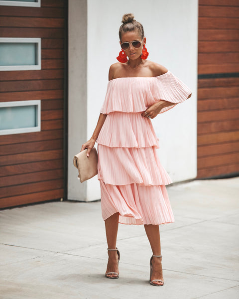Bonifacio Tiered Pleated Midi Dress - Blush