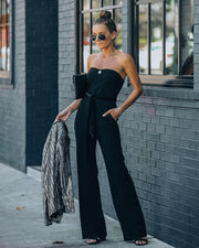 Exclusives Only Strapless Pocketed Velvet Tie Jumpsuit view 1