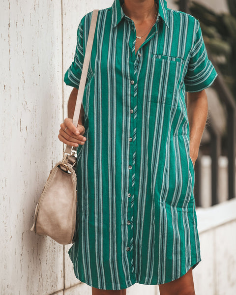 Rancho Button Down Pocketed Shirt Dress - Green