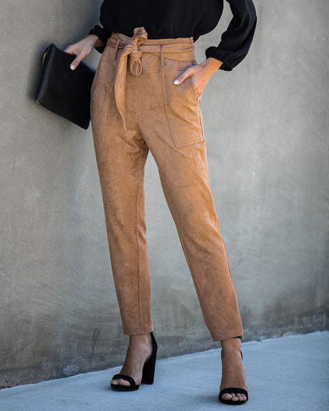Seasonal Refresh Pocketed Faux Suede Pants - Camel