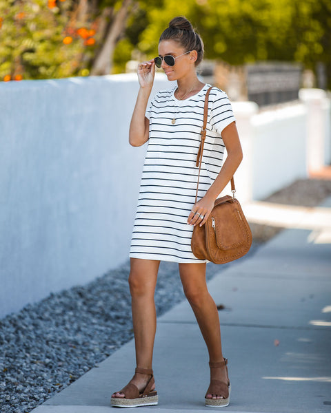 Naval Striped Cotton T-Shirt Dress