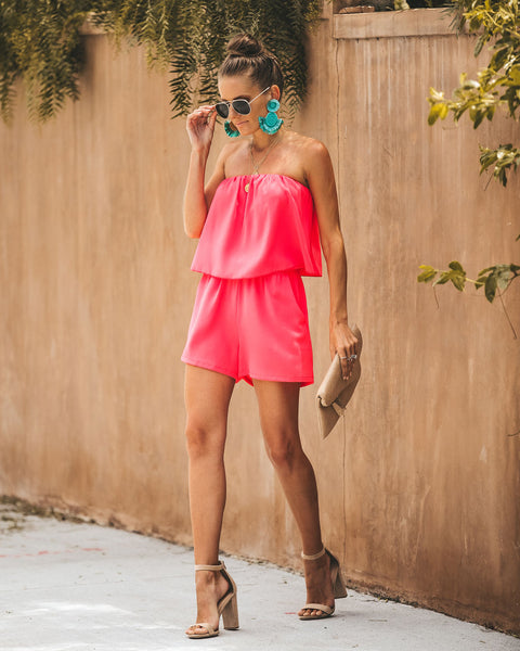 Oh Hello Strapless Pocketed Romper - Bright Coral