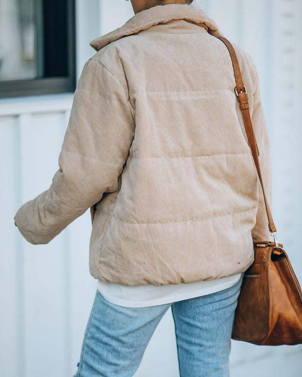 Krissy Pocketed Corduroy Puffer Jacket - Taupe