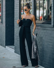 Exclusives Only Strapless Pocketed Velvet Tie Jumpsuit view 10