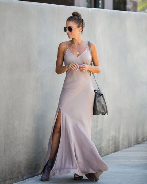 Run This Town Cami Maxi Dress - Taupe - FINAL SALE