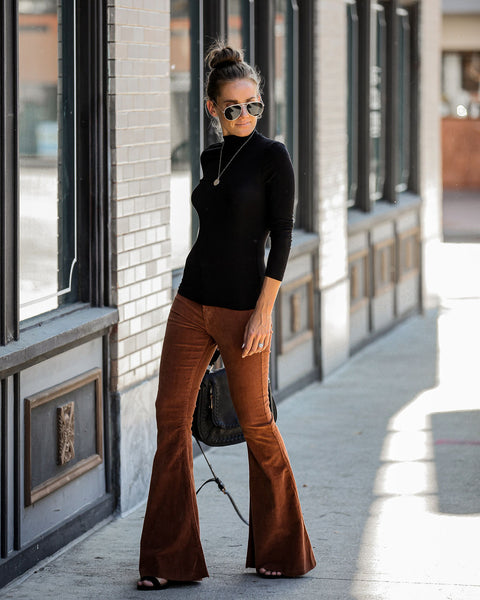 Aggie Pocketed Corduroy Bell Bottoms - Rust