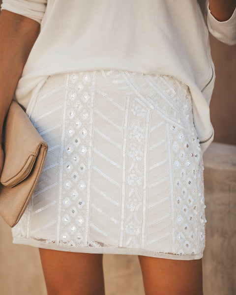 Great Gatsby Sequin Mini Skirt - White