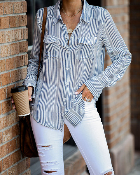 Mayfair Cotton Striped Button Down Top