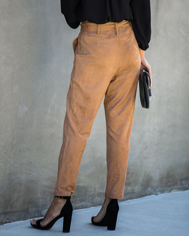 Seasonal Refresh Pocketed Faux Suede Pants - Camel - FINAL SALE