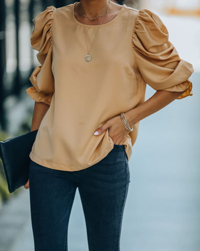 Talk This Way Puff Sleeve Blouse - Tan