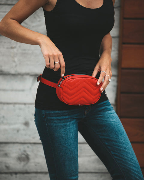 Chevel Faux Leather Fanny Pack - Red - FINAL SALE