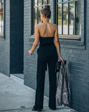 Exclusives Only Strapless Pocketed Velvet Tie Jumpsuit view 2