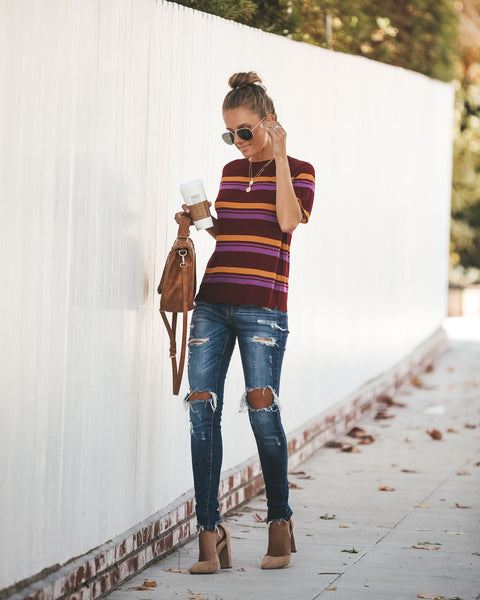 Lorelai Striped Sweater Top - Merlot