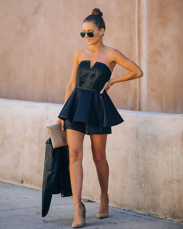 Head Over Heels Strapless Shimmer Peplum Romper - FINAL SALE view 1