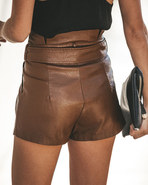 Vida Faux Leather Paper Bag Waist Pocketed Shorts