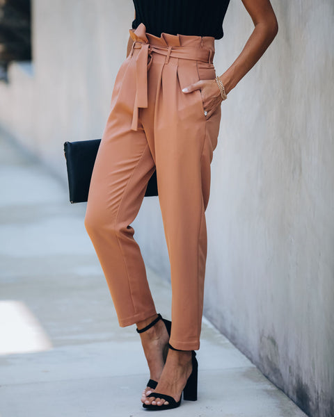 Regime Pocketed Paper Bag Waist Trousers - Camel