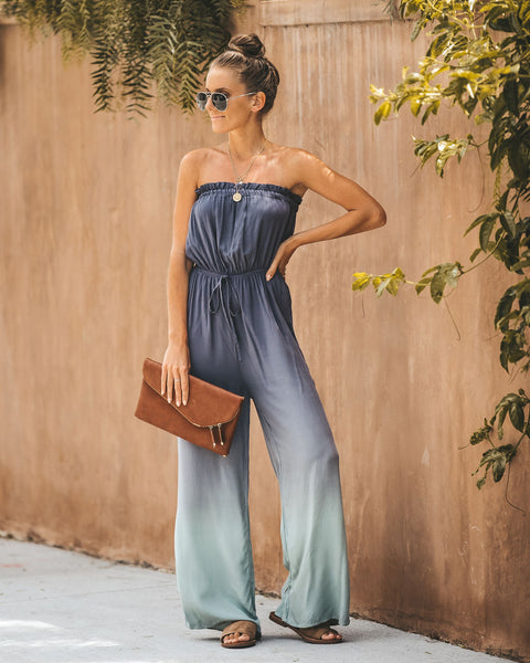 Summer Nights Ombre Strapless Jumpsuit - Charcoal