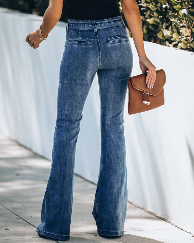 Whitmore Paper Bag Waist Bell Bottom Denim