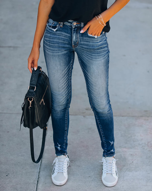 A Cut Above Mid Rise Distressed Skinny