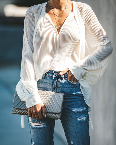 Set In Her Ways Pleated Chiffon Blouse - White