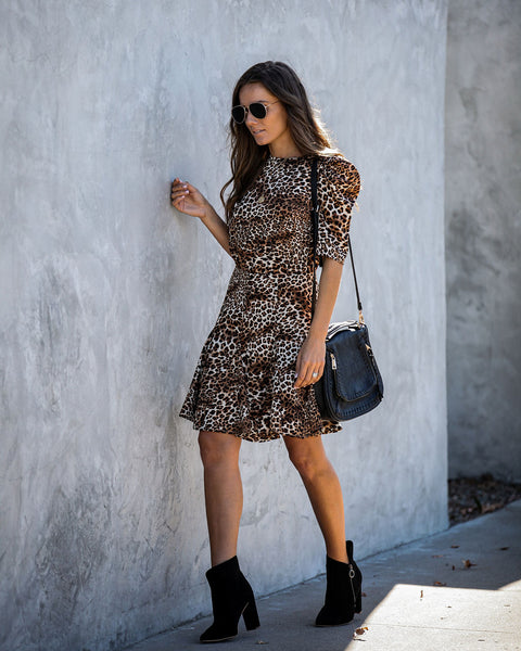 Keep Your Distance Puff Sleeve Leopard Dress
