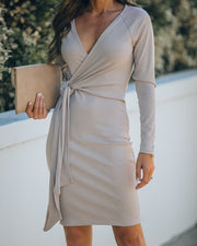 Round Of Applause Knit Wrap Dress - Beige - FINAL SALE view 6