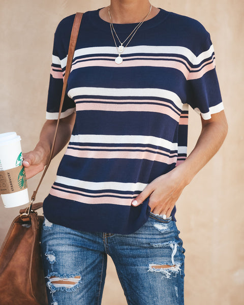 Lorelai Striped Sweater Top - Navy
