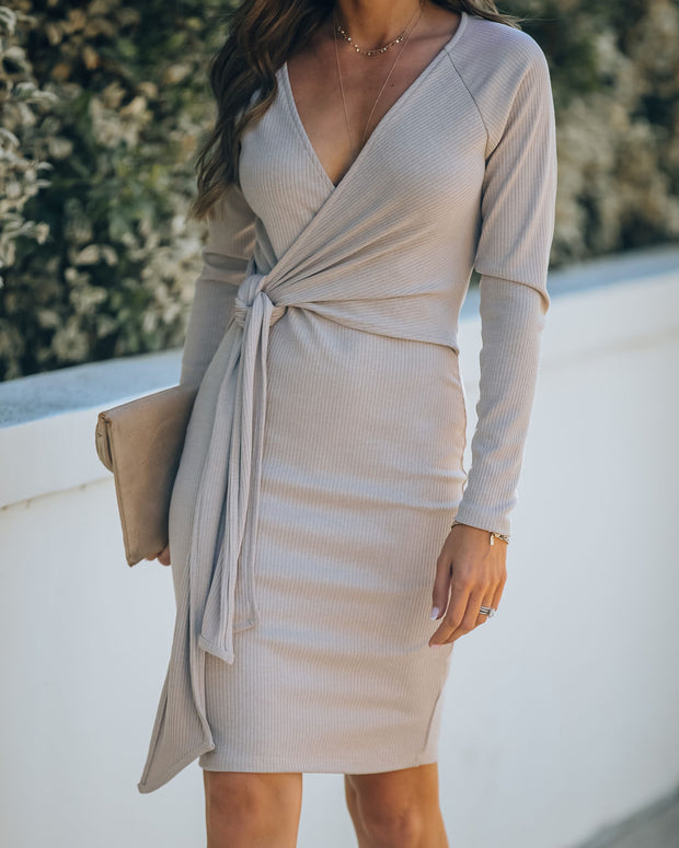 Round Of Applause Knit Wrap Dress - Beige - FINAL SALE view 8