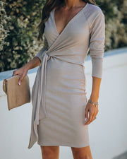 Round Of Applause Knit Wrap Dress - Beige - FINAL SALE view 3