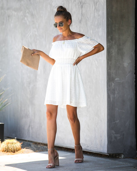 Riesling Embroidered Off The Shoulder Dress - White - FINAL SALE