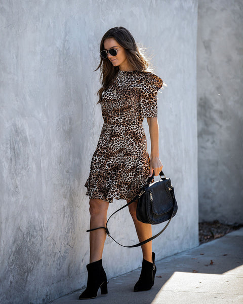 Keep Your Distance Puff Sleeve Leopard Dress   - FINAL SALE