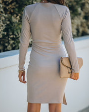 Round Of Applause Knit Wrap Dress - Beige - FINAL SALE view 2