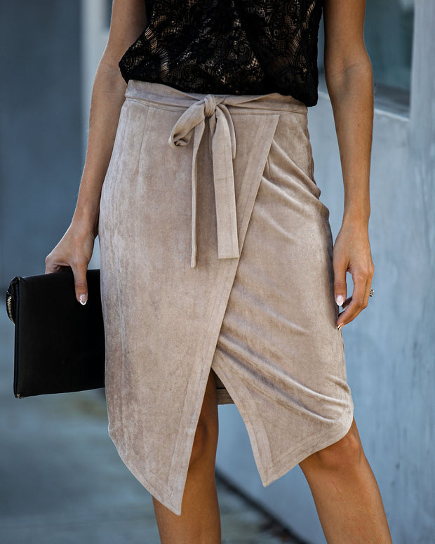 Hercules Faux Suede Wrap Skirt - Taupe  - FINAL SALE