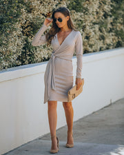 Round Of Applause Knit Wrap Dress - Beige - FINAL SALE view 9