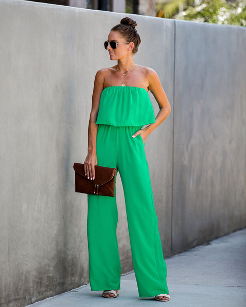 Supreme Strapless Pocketed Jumpsuit - Kelly Green - FINAL SALE