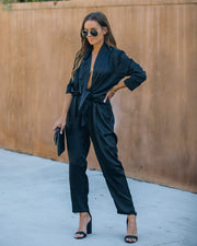 Silvie Pocketed Satin Tie Front Jumpsuit
