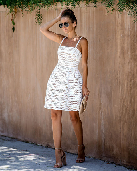 Lucky For You Mesh Overlay Dress - White - FINAL SALE