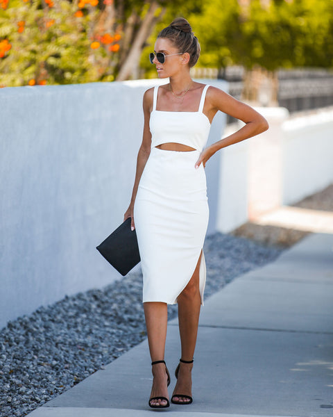 Snip It Bodycon Midi Dress - Off White
