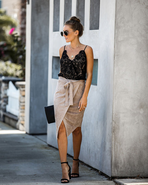 Hercules Faux Suede Wrap Skirt - Taupe