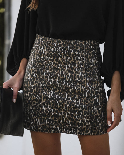 Born To Roam Cotton Blend Leopard Mini Skirt