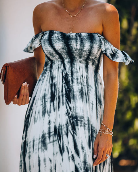 Tied + Dyed Smocked Off The Shoulder Maxi Dress