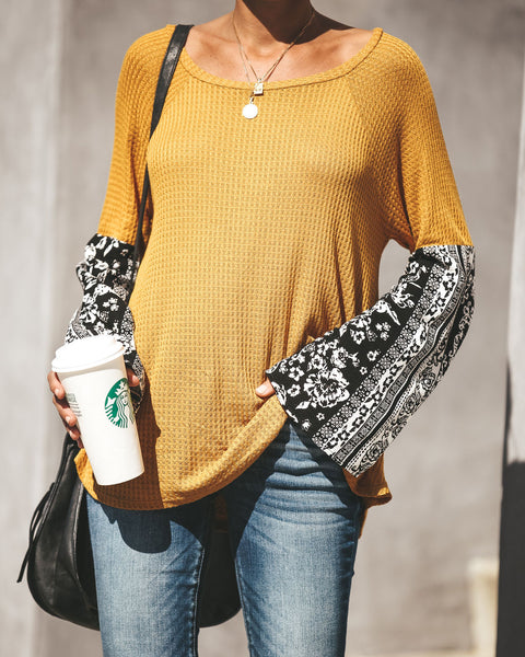October Thermal Contrast Bell Sleeve Top - Mustard