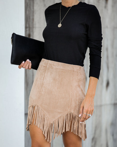 Pascal Faux Suede Fringe Mini Skirt